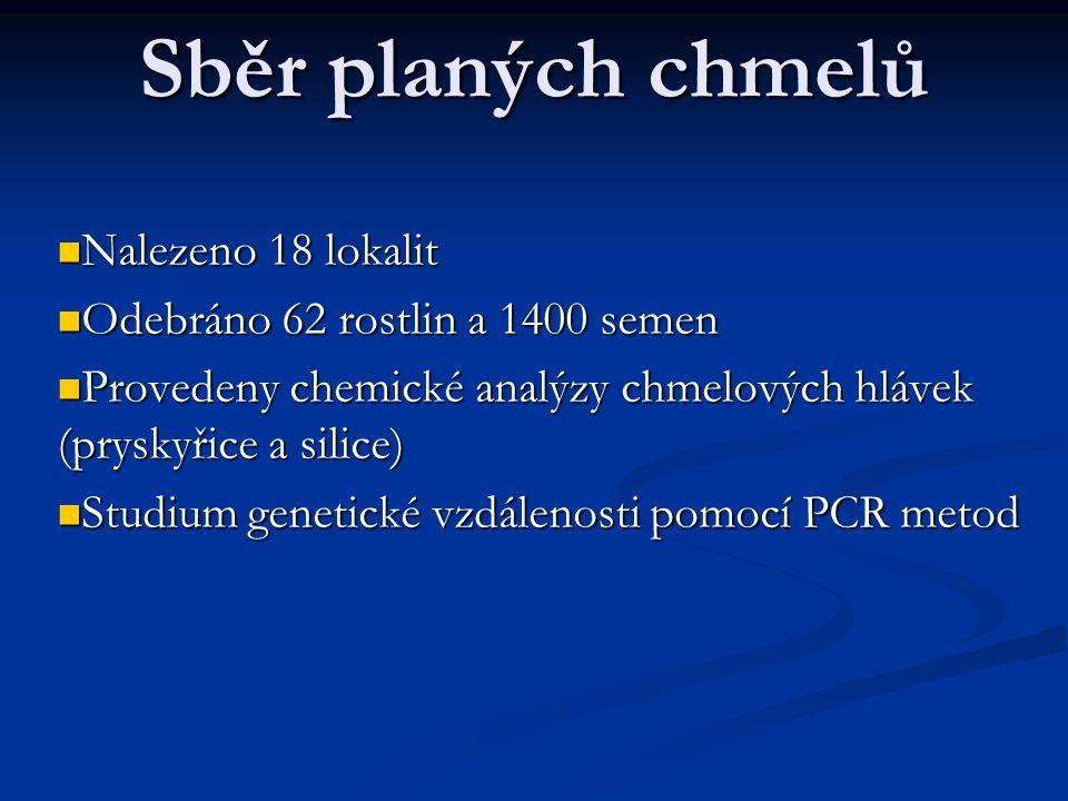 Sběr planých chmelů  Nalezeno 18 lokalit  Odebráno 62 rostlin a 1400 semen  Provedeny chemické analýzy chmelových hlávek (pryskyřice a silice)  St