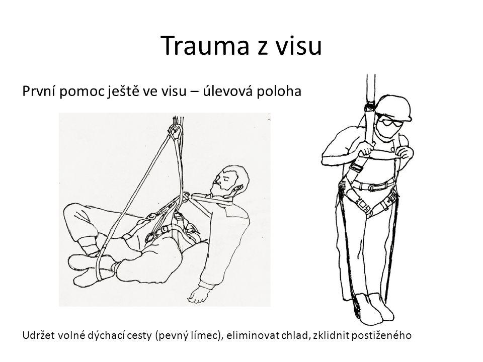 Trauma z visu První pomoc ještě ve visu – úlevová poloha Udržet volné dýchací cesty (pevný límec), eliminovat chlad, zklidnit postiženého