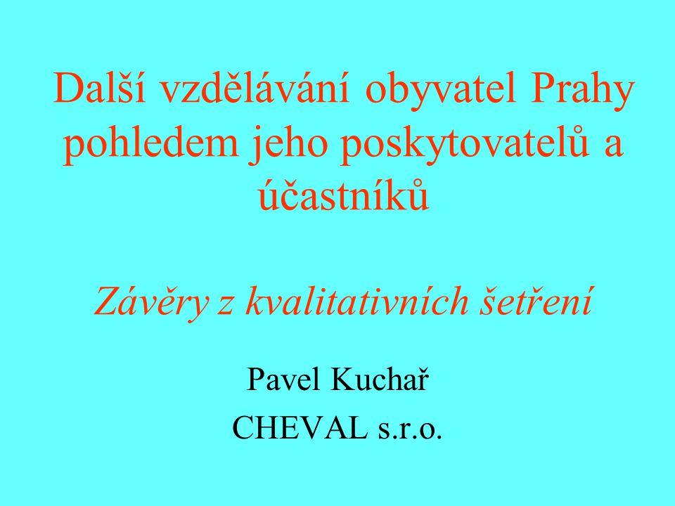 Metodika rozhovorů Poskytovatelé – 4 rozhovory, 20 účastníků termín: duben 2007 Účastníci – 3 rozhovory, 28 účastníků termín: květen 2008 Cílem rozhovorů bylo získat poznatky o současných trendech a zkušenostech v oblasti celoživotního vzdělávání obyvatel Prahy od představitelů poskytovatelů tohoto vzdělávání a jeho účastníků a doplnit tak informace získané z kvantitativního šetření.