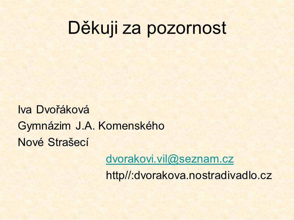 Děkuji za pozornost Iva Dvořáková Gymnázim J.A. Komenského Nové Strašecí dvorakovi.vil@seznam.cz http//:dvorakova.nostradivadlo.cz