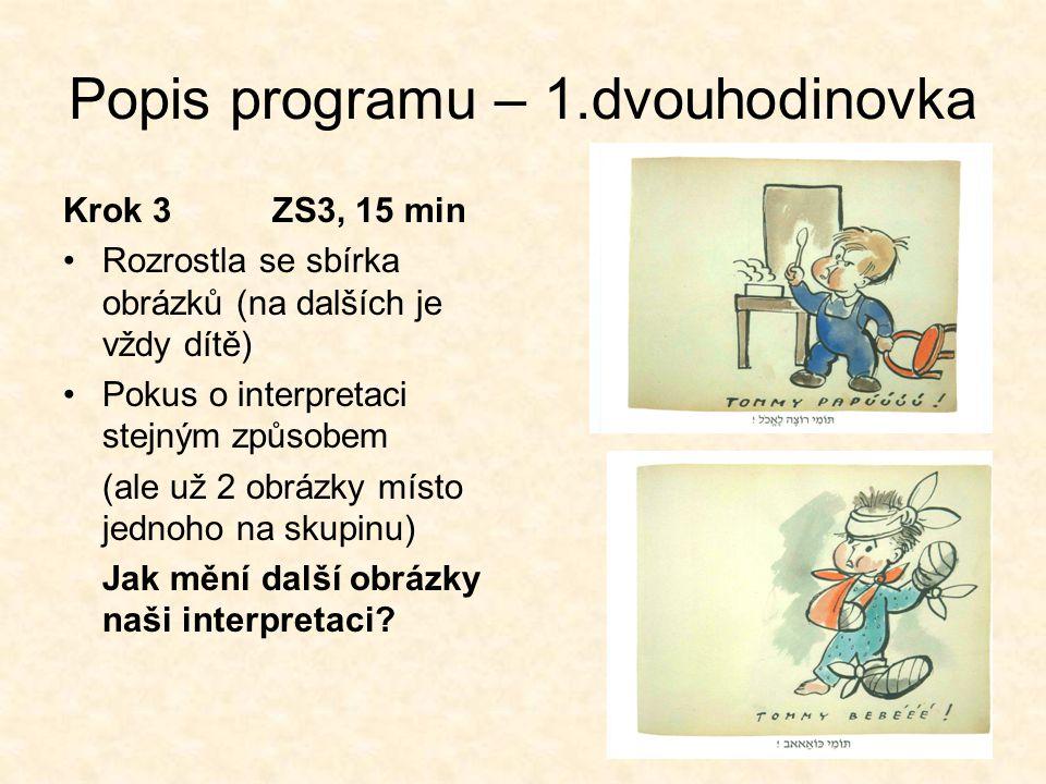 Popis programu – 1.dvouhodinovka Krok 3ZS3, 15 min •Rozrostla se sbírka obrázků (na dalších je vždy dítě) •Pokus o interpretaci stejným způsobem (ale