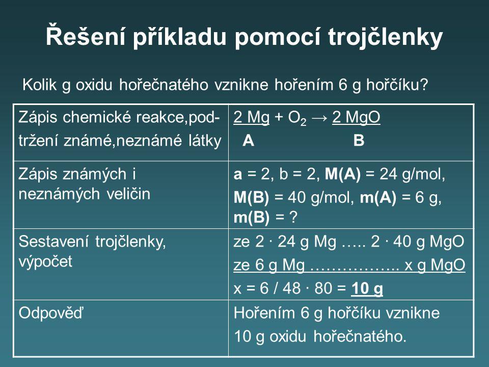 Řešení příkladu pomocí trojčlenky Zápis chemické reakce,pod- tržení známé,neznámé látky 2 Mg + O 2 → 2 MgO A B Zápis známých i neznámých veličin a = 2