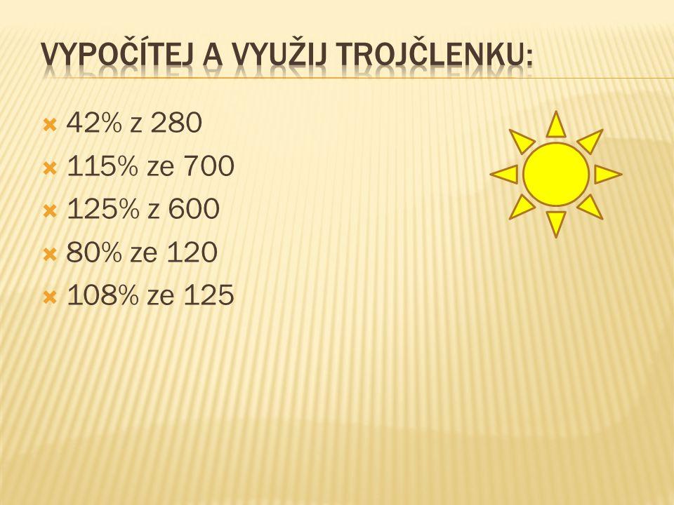  42% z 280  115% ze 700  125% z 600  80% ze 120  108% ze 125