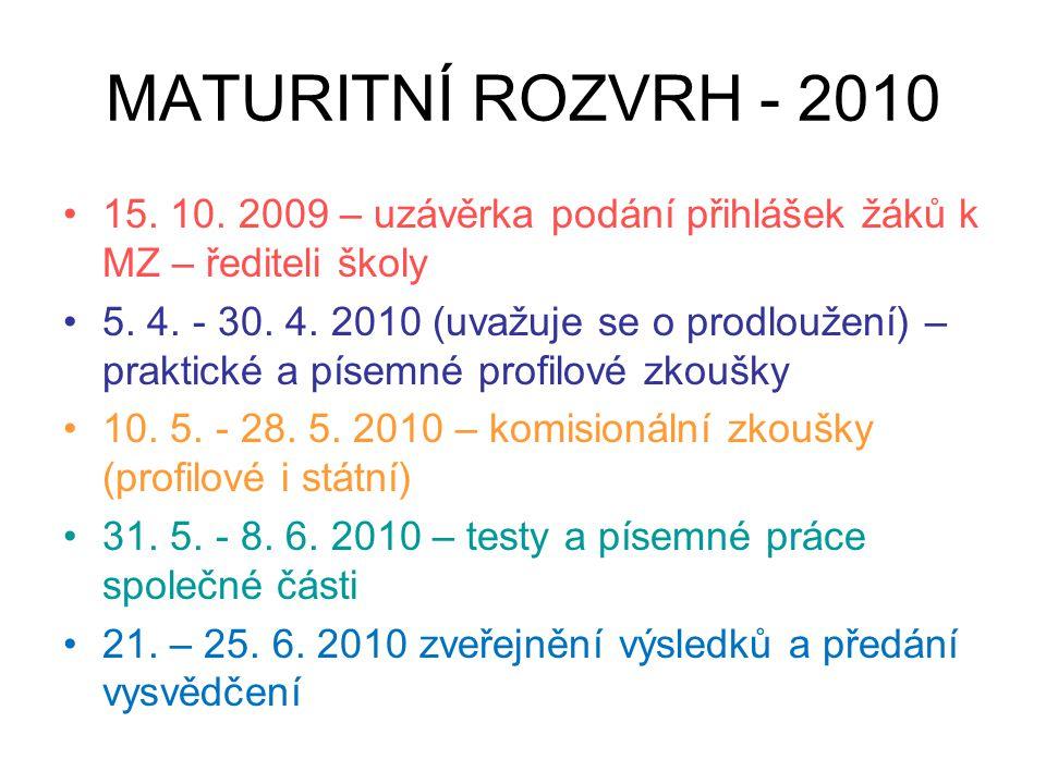 MATURITNÍ ROZVRH - 2010 •15. 10. 2009 – uzávěrka podání přihlášek žáků k MZ – řediteli školy •5. 4. - 30. 4. 2010 (uvažuje se o prodloužení) – praktic