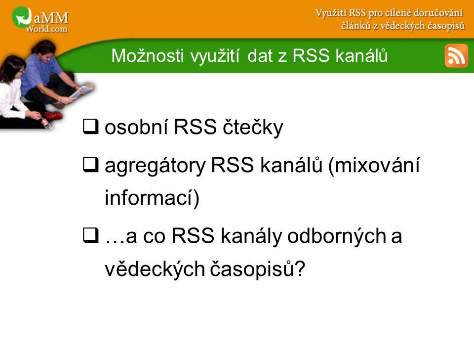 Možnosti využití dat z RSS kanálů  osobní RSS čtečky  agregátory RSS kanálů (mixování informací)  …a co RSS kanály odborných a vědeckých časopisů
