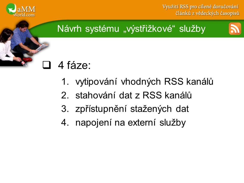 """Návrh systému """"výstřižkové služby  4 fáze: 1.vytipování vhodných RSS kanálů 2.stahování dat z RSS kanálů 3.zpřístupnění stažených dat 4.napojení na externí služby"""