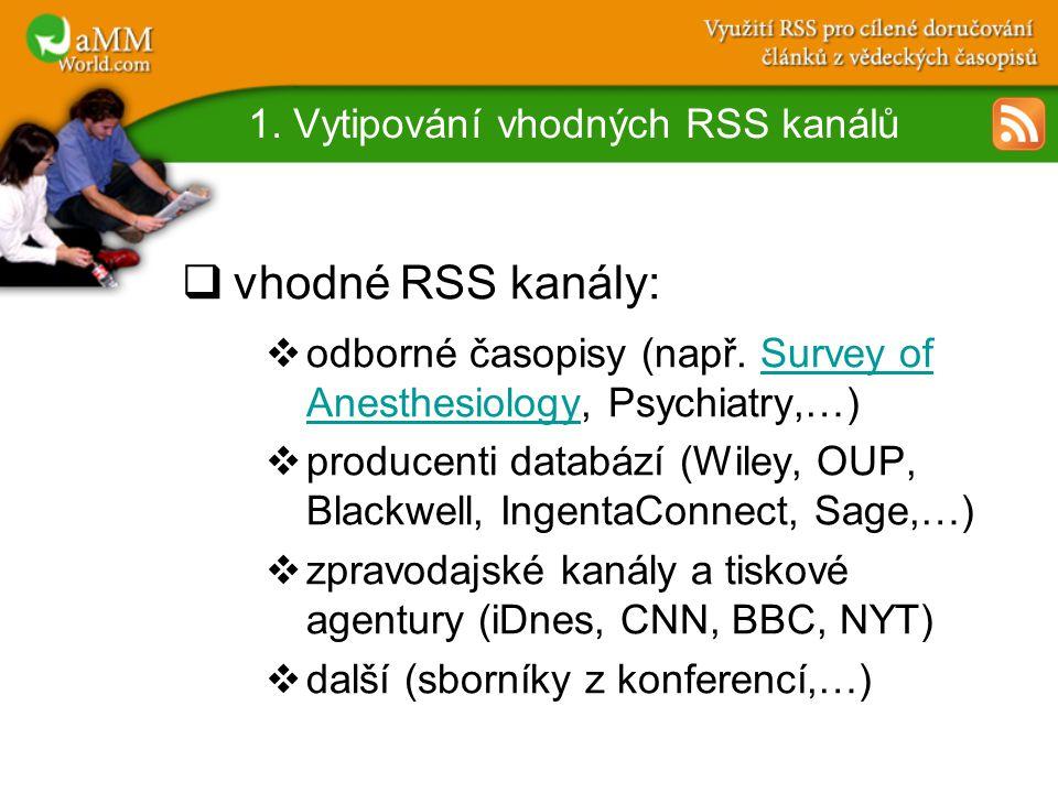 1. Vytipování vhodných RSS kanálů  vhodné RSS kanály:  odborné časopisy (např.
