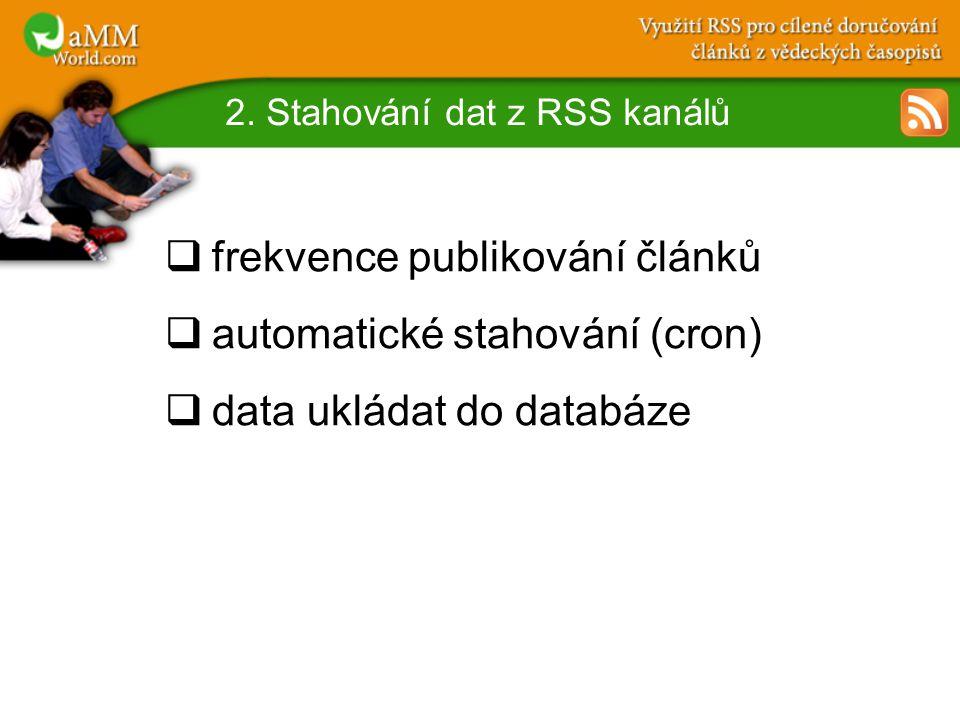 2. Stahování dat z RSS kanálů  frekvence publikování článků  automatické stahování (cron)  data ukládat do databáze
