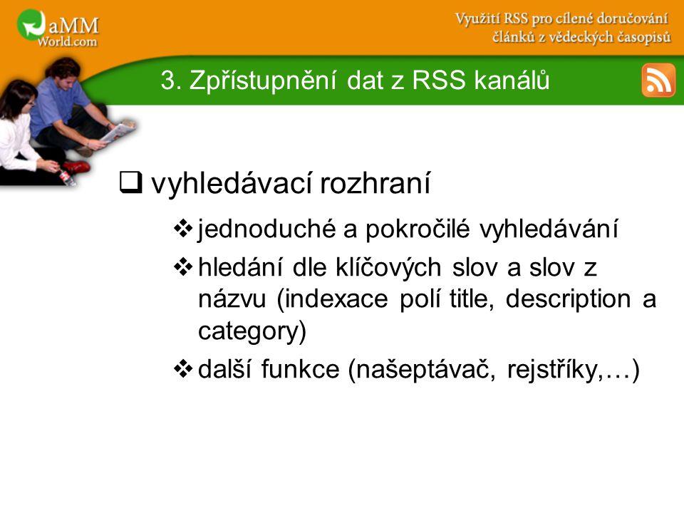 3. Zpřístupnění dat z RSS kanálů  vyhledávací rozhraní  jednoduché a pokročilé vyhledávání  hledání dle klíčových slov a slov z názvu (indexace pol