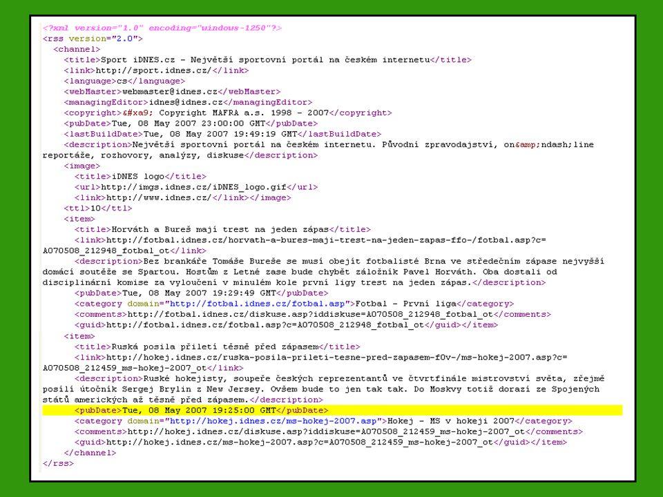  RSS kanál sportovního portálu na idnes.cz Ukázka zdrojového kódu RSS kanálu