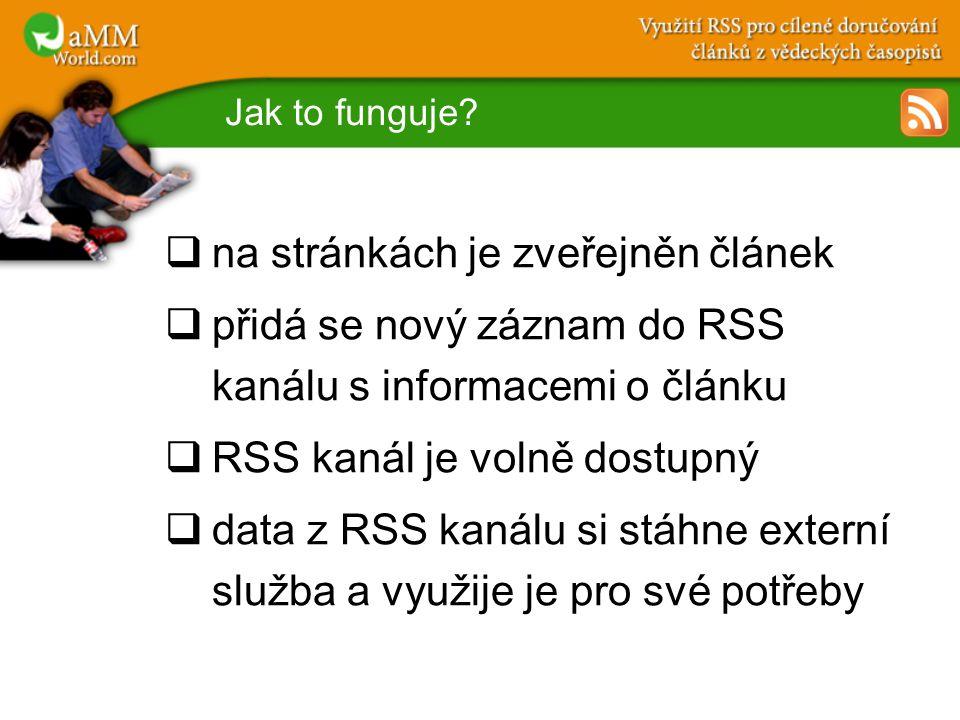 Jak to funguje?  na stránkách je zveřejněn článek  přidá se nový záznam do RSS kanálu s informacemi o článku  RSS kanál je volně dostupný  data z