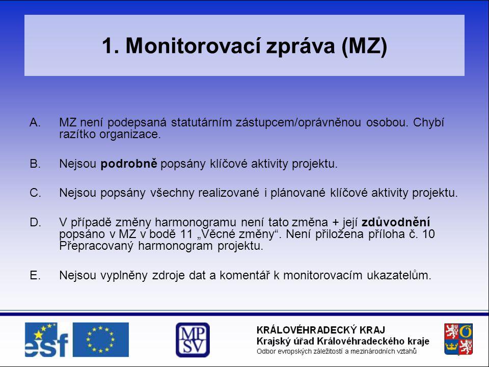 1. Monitorovací zpráva (MZ) A.MZ není podepsaná statutárním zástupcem/oprávněnou osobou. Chybí razítko organizace. B.Nejsou podrobně popsány klíčové a
