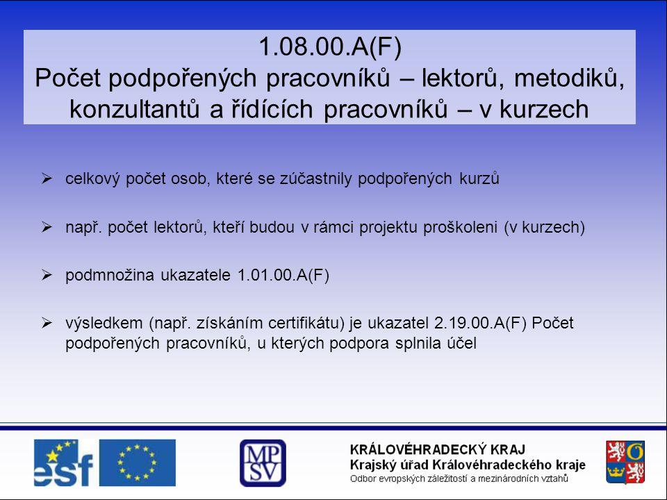 1.08.00.A(F) Počet podpořených pracovníků – lektorů, metodiků, konzultantů a řídících pracovníků – v kurzech  celkový počet osob, které se zúčastnily
