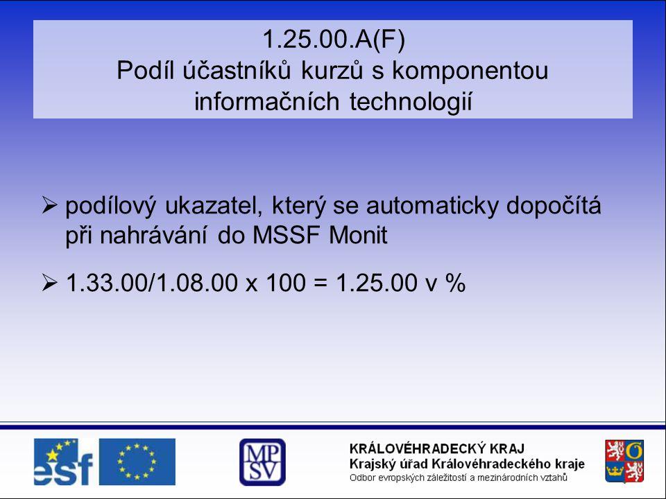 1.25.00.A(F) Podíl účastníků kurzů s komponentou informačních technologií  podílový ukazatel, který se automaticky dopočítá při nahrávání do MSSF Monit  1.33.00/1.08.00 x 100 = 1.25.00 v %