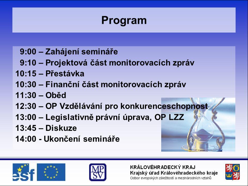 Program 9:00 – Zahájení semináře 9:10 – Projektová část monitorovacích zpráv 10:15 – Přestávka 10:30 – Finanční část monitorovacích zpráv 11:30 – Oběd