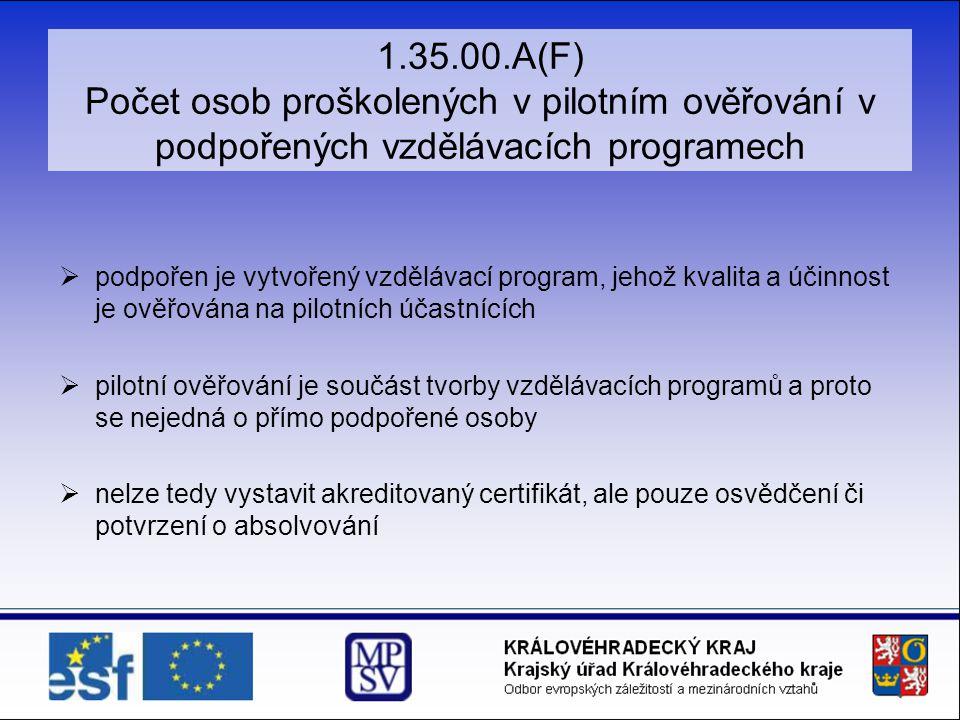 1.35.00.A(F) Počet osob proškolených v pilotním ověřování v podpořených vzdělávacích programech  podpořen je vytvořený vzdělávací program, jehož kvalita a účinnost je ověřována na pilotních účastnících  pilotní ověřování je součást tvorby vzdělávacích programů a proto se nejedná o přímo podpořené osoby  nelze tedy vystavit akreditovaný certifikát, ale pouze osvědčení či potvrzení o absolvování