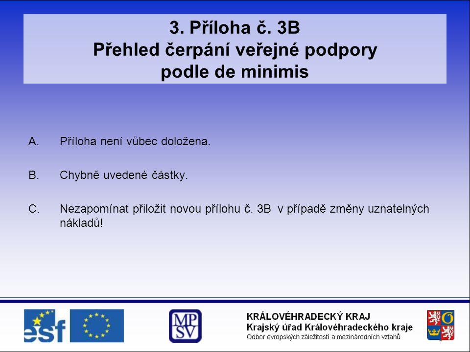 3. Příloha č. 3B Přehled čerpání veřejné podpory podle de minimis A.Příloha není vůbec doložena. B.Chybně uvedené částky. C.Nezapomínat přiložit novou