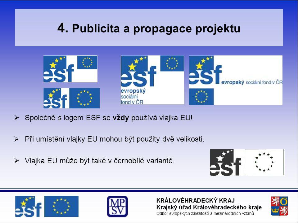 4. Publicita a propagace projektu  Společně s logem ESF se vždy používá vlajka EU!  Při umístění vlajky EU mohou být použity dvě velikosti.  Vlajka