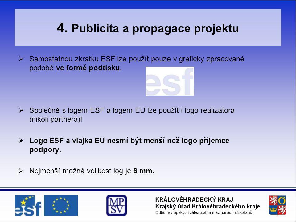 4. Publicita a propagace projektu  Samostatnou zkratku ESF lze použít pouze v graficky zpracované podobě ve formě podtisku.  Společně s logem ESF a