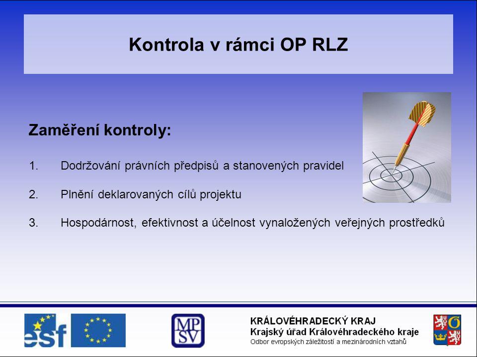 Kontrola v rámci OP RLZ Zaměření kontroly: 1.Dodržování právních předpisů a stanovených pravidel 2.Plnění deklarovaných cílů projektu 3.Hospodárnost, efektivnost a účelnost vynaložených veřejných prostředků
