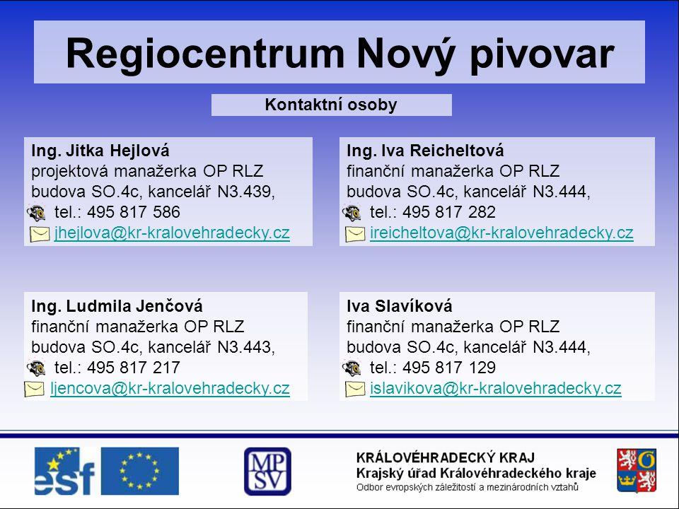 Regiocentrum Nový pivovar Kontaktní osoby Ing. Jitka Hejlová projektová manažerka OP RLZ budova SO.4c, kancelář N3.439, tel.: 495 817 586 jhejlova@kr-
