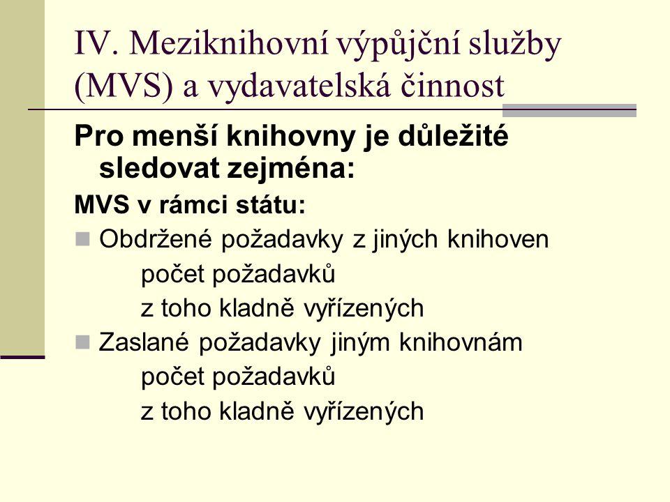 IV. Meziknihovní výpůjční služby (MVS) a vydavatelská činnost Pro menší knihovny je důležité sledovat zejména: MVS v rámci státu:  Obdržené požadavky