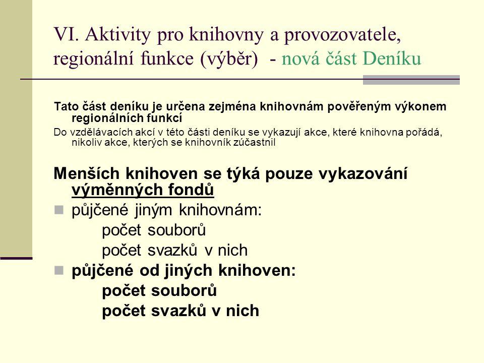 VI. Aktivity pro knihovny a provozovatele, regionální funkce (výběr) - nová část Deníku Tato část deníku je určena zejména knihovnám pověřeným výkonem