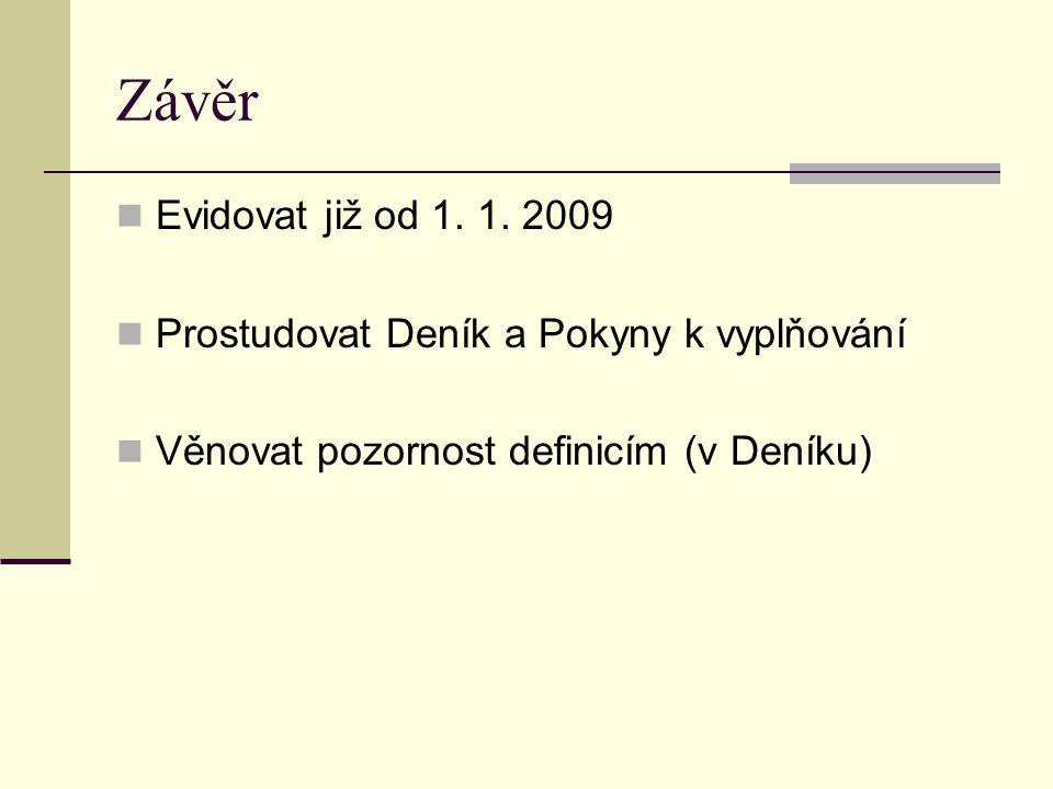 Závěr  Evidovat již od 1. 1.