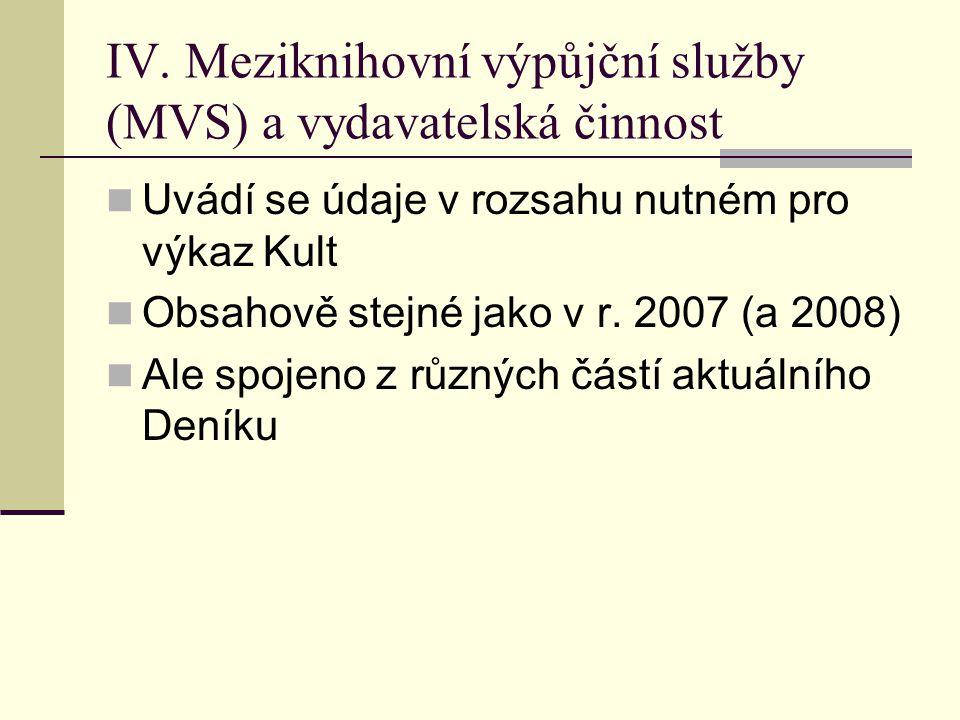 IV. Meziknihovní výpůjční služby (MVS) a vydavatelská činnost  Uvádí se údaje v rozsahu nutném pro výkaz Kult  Obsahově stejné jako v r. 2007 (a 200