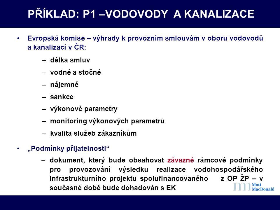 PŘÍKLAD: P1 –VODOVODY A KANALIZACE •Evropská komise – výhrady k provozním smlouvám v oboru vodovodů a kanalizací v ČR: –délka smluv –vodné a stočné –n