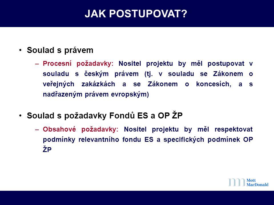 JAK POSTUPOVAT? •Soulad s právem –Procesní požadavky: Nositel projektu by měl postupovat v souladu s českým právem (tj. v souladu se Zákonem o veřejný