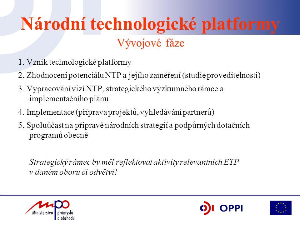 1. Vznik technologické platformy 2. Zhodnocení potenciálu NTP a jejího zaměření (studie proveditelnosti) 3. Vypracování vizí NTP, strategického výzkum