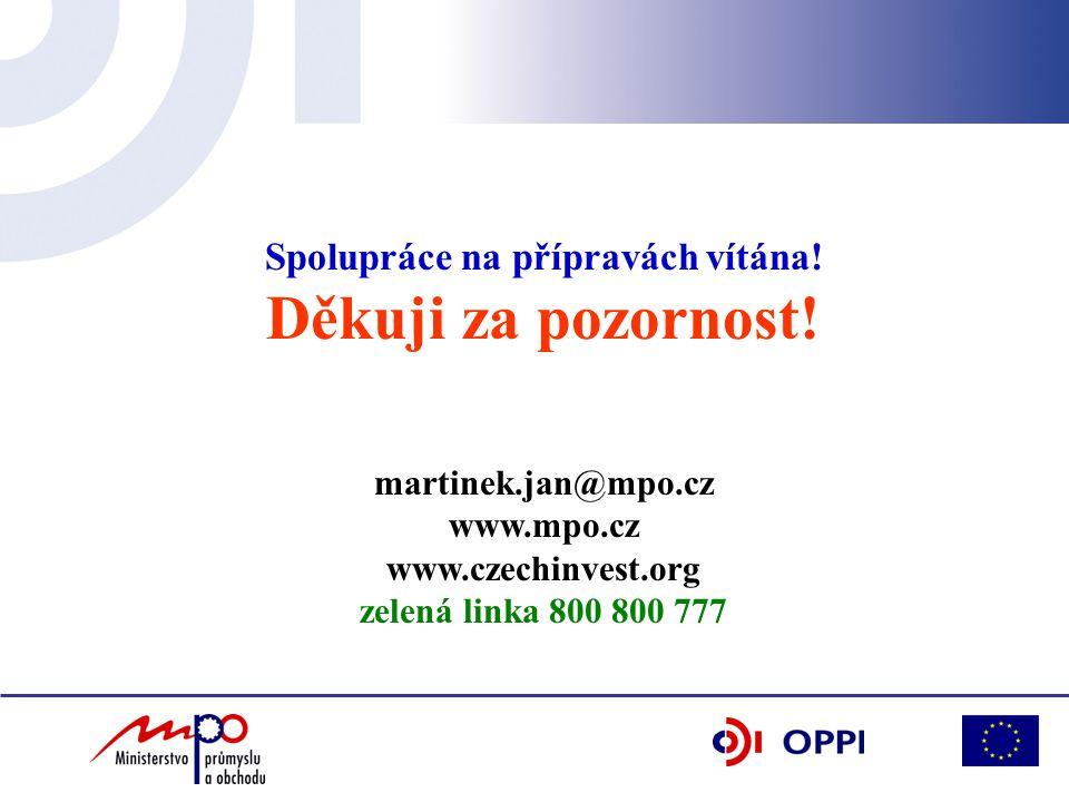 Spolupráce na přípravách vítána! Děkuji za pozornost! martinek.jan@mpo.cz www.mpo.cz www.czechinvest.org zelená linka 800 800 777