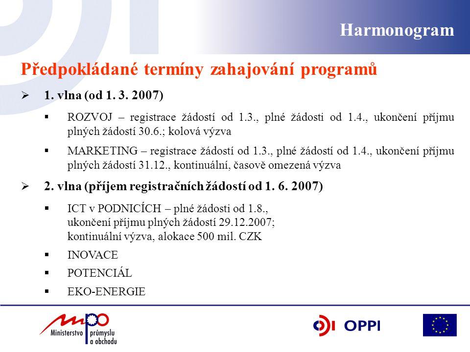Harmonogram Předpokládané termíny zahajování programů  1. vlna (od 1. 3. 2007)  ROZVOJ – registrace žádostí od 1.3., plné žádosti od 1.4., ukončení