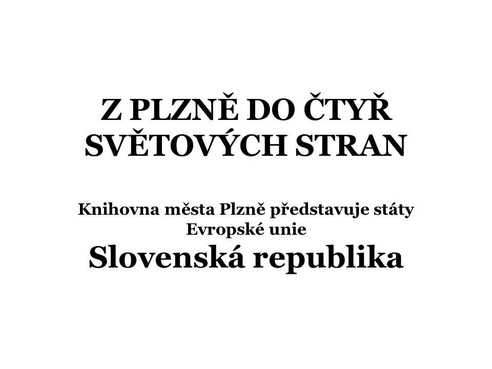 Slovenská republika Základní údaje Rozloha: 48 845 km 2 Počet obyvatel: 5 439 448 (červenec 2006) Složení obyvatel: Slováci 85,8 %, Maďaři 9,7 %, Romové 1,7 %, Češi 0,8 %, Rusíni, Ukrajinci, Němci, Poláci … (2%) Hlavní město: Bratislava Forma státu: republika, unitární stát Administrativní členění: 8 krajů (Bratislavský, Trnavský, Trenčiansky, Nitriansky, Žilinský, Banskobystrický, Prešovský, Košický) Jazyk: slovenština - oficiální (83,9 %), dále nejvíce zastoupena maďarština, kterou hovoří 10,7 % obyvatel Náboženství: římsko-katolická 68,9 %, protestanti 10,8 %, řecko- katolická 4,1 %, ostatní církve 3,2 %, bez vyznání 13 % Členem EU od 1.5.2004 Členem jiných mezinárodních organizací Australia group, CEI, EBRD, IBRD, ILO, MMF, IMO, NATO, OSN, OECD, OSCE, WHO, WTO Podle definitivních výsledků sčítání lidu žilo v ČR k 1.