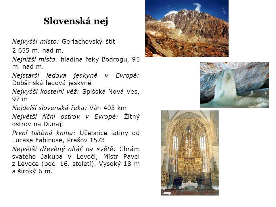 Slovenská nej Nejvyšší místo: Gerlachovský štít 2 655 m. nad m. Nejnižší místo: hladina řeky Bodrogu, 95 m. nad m. Nejstarší ledová jeskyně v Evropě: