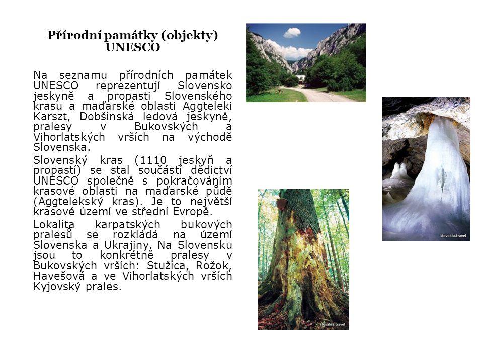 Přírodní památky (objekty) UNESCO Na seznamu přírodních památek UNESCO reprezentují Slovensko jeskyně a propasti Slovenského krasu a maďarské oblasti Aggteleki Karszt, Dobšinská ledová jeskyně, pralesy v Bukovských a Vihorlatských vrších na východě Slovenska.