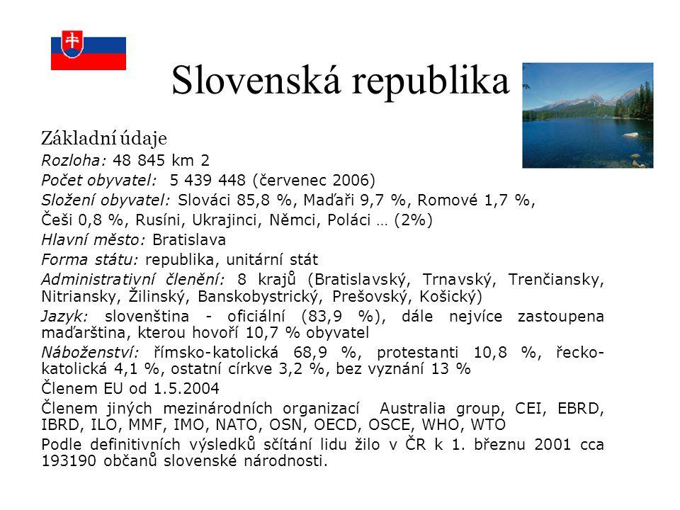 Slovenská republika Základní údaje Rozloha: 48 845 km 2 Počet obyvatel: 5 439 448 (červenec 2006) Složení obyvatel: Slováci 85,8 %, Maďaři 9,7 %, Romo