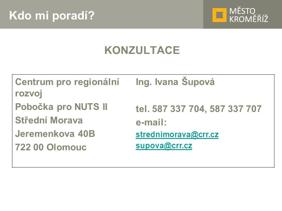 Kdo mi poradí? KONZULTACE Centrum pro regionální rozvoj Pobočka pro NUTS II Střední Morava Jeremenkova 40B 722 00 Olomouc Ing. Ivana Šupová tel. 587 3
