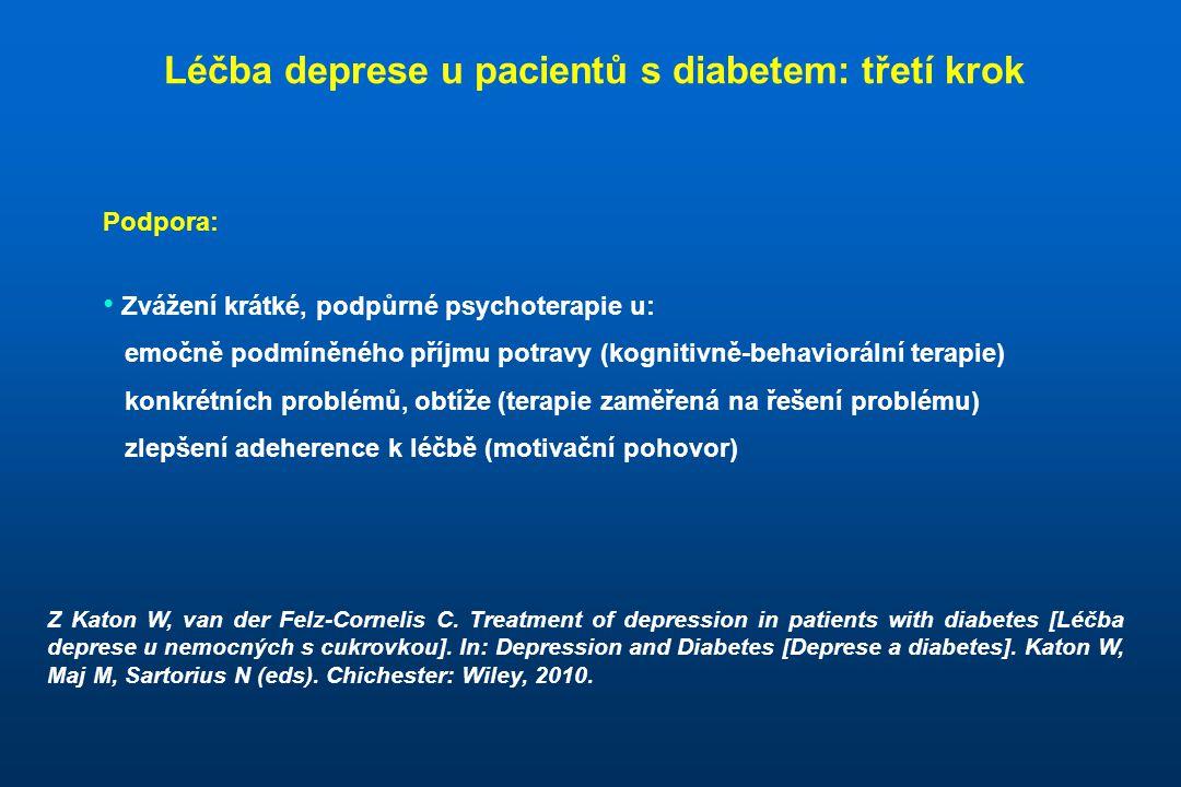 Podpora: • Zvážení krátké, podpůrné psychoterapie u: emočně podmíněného příjmu potravy (kognitivně-behaviorální terapie) konkrétních problémů, obtíže