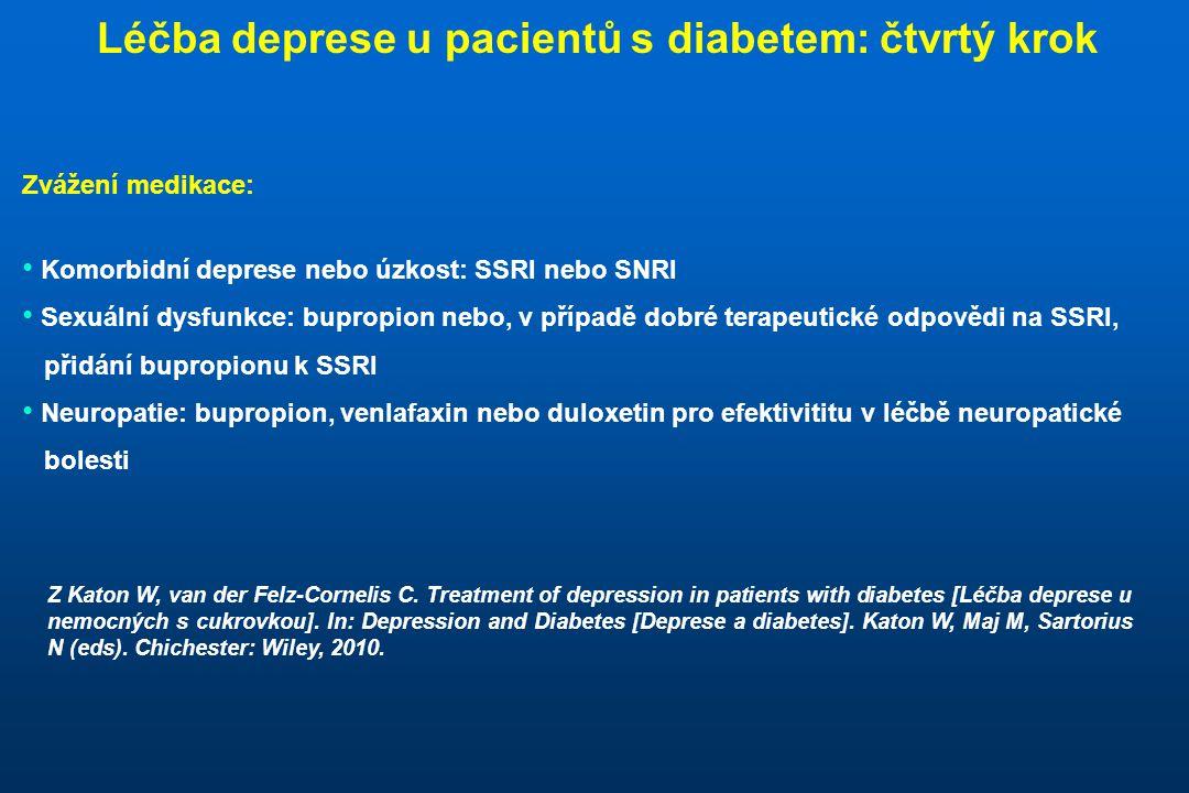 Zvážení medikace: • Komorbidní deprese nebo úzkost: SSRI nebo SNRI • Sexuální dysfunkce: bupropion nebo, v případě dobré terapeutické odpovědi na SSRI