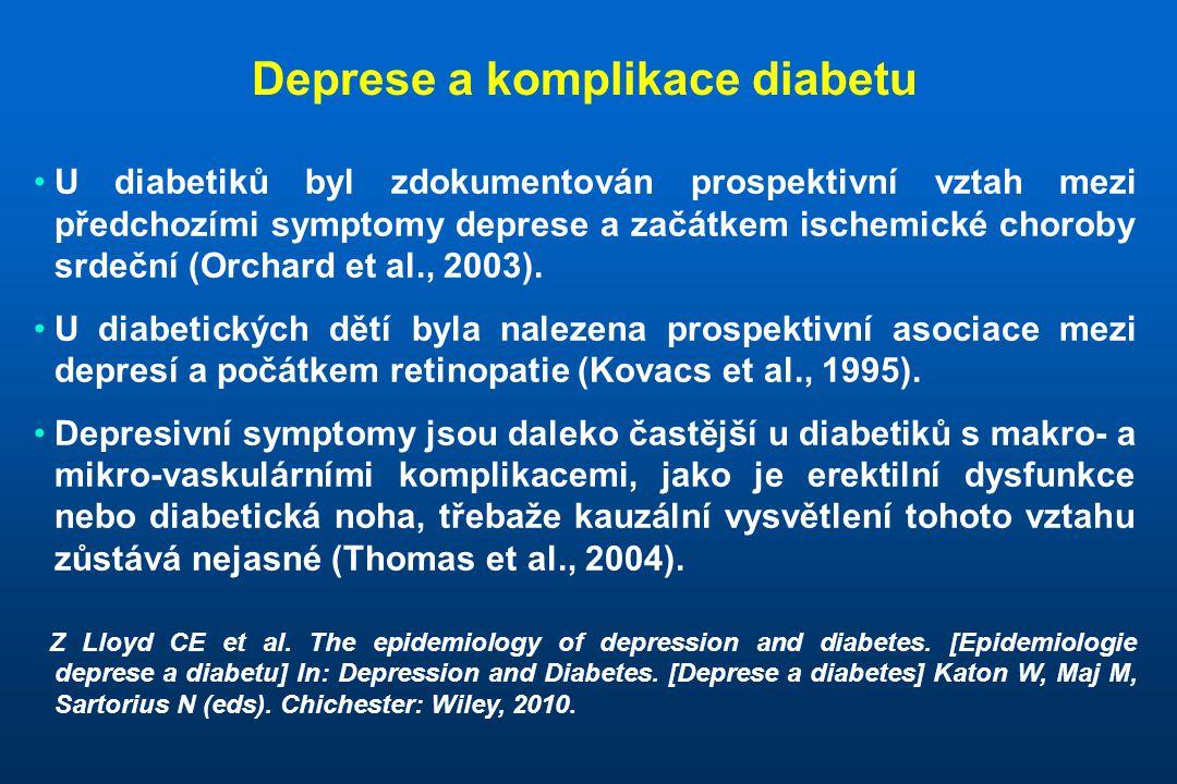 """U diabetiků byla nalezena silná asociace mezi depresivními příznaky (zjišťovanými škálou """"Center for Epidemiological Studies - Depression Scale , CES-D) a zvýšenou mortalitou, která přetrvávala i po kontrole faktorů sociodemografických a životního stylu a nebyla přítomna u ne- diabetiků."""