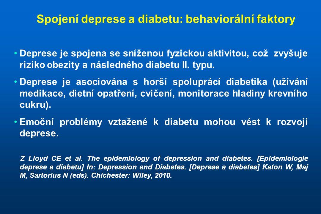 Spojení deprese a diabetu: biologické faktory •Deprese je fenotypickým projevem řady stresem podmíněných chorob které vedou k aktivaci hypothalamo-hypofyzární- adrenální osy, dysregulaci autonomního nervového systému a uvolňování prozánětlivých cytokinů; a nakonec ústí v inzulinovou resistenci.