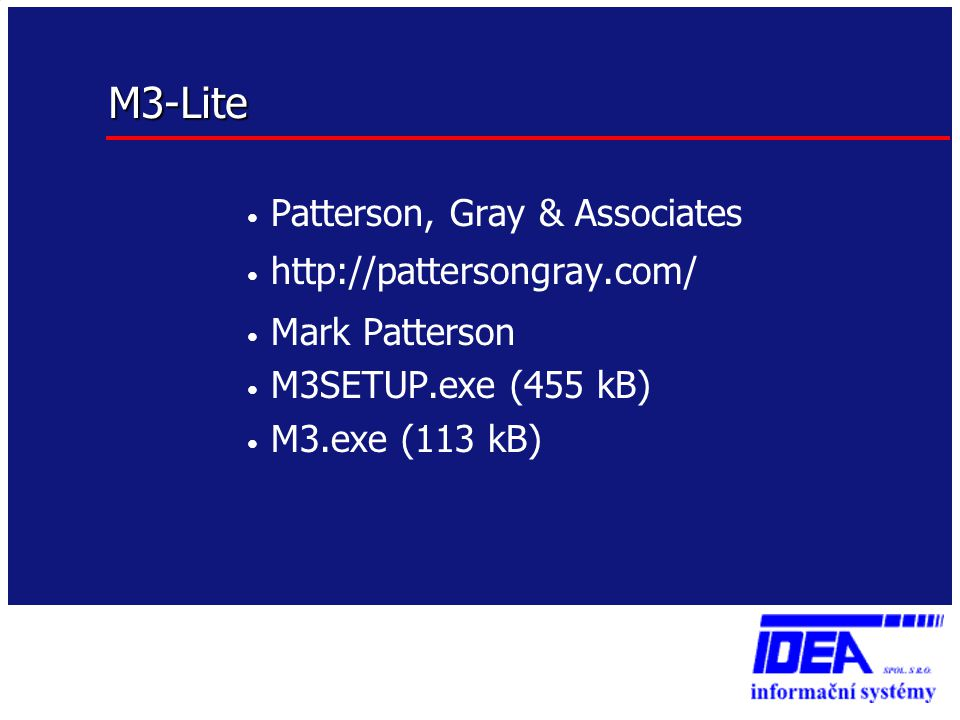 M3-Lite • Patterson, Gray & Associates • http://pattersongray.com/ • Mark Patterson • M3SETUP.exe (455 kB) • M3.exe (113 kB)
