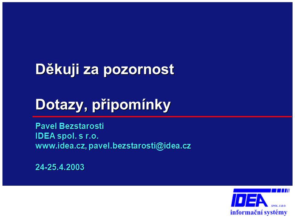 Děkuji za pozornost Dotazy, připomínky Pavel Bezstarosti IDEA spol. s r.o. www.idea.cz, pavel.bezstarosti@idea.cz 24-25.4.2003