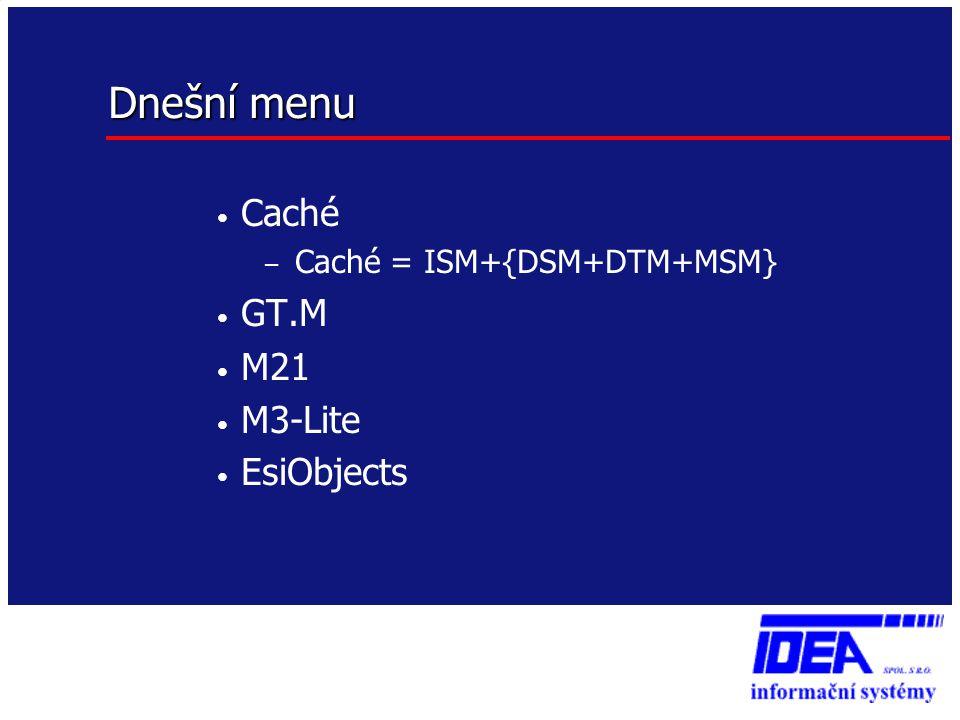 Dnešní menu • Caché – Caché = ISM+{DSM+DTM+MSM} • GT.M • M21 • M3-Lite • EsiObjects