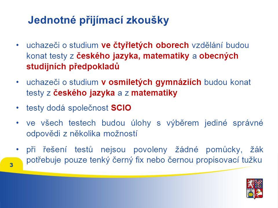 3 •uchazeči o studium ve čtyřletých oborech vzdělání budou konat testy z českého jazyka, matematiky a obecných studijních předpokladů •uchazeči o studium v osmiletých gymnáziích budou konat testy z českého jazyka a z matematiky •testy dodá společnost SCIO •ve všech testech budou úlohy s výběrem jediné správné odpovědi z několika možností •při řešení testů nejsou povoleny žádné pomůcky, žák potřebuje pouze tenký černý fix nebo černou propisovací tužku