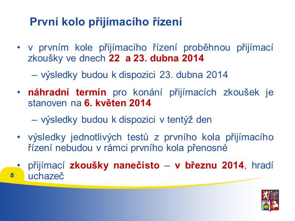 První kolo přijímacího řízení •v prvním kole přijímacího řízení proběhnou přijímací zkoušky ve dnech 22 a 23. dubna 2014 –výsledky budou k dispozici 2