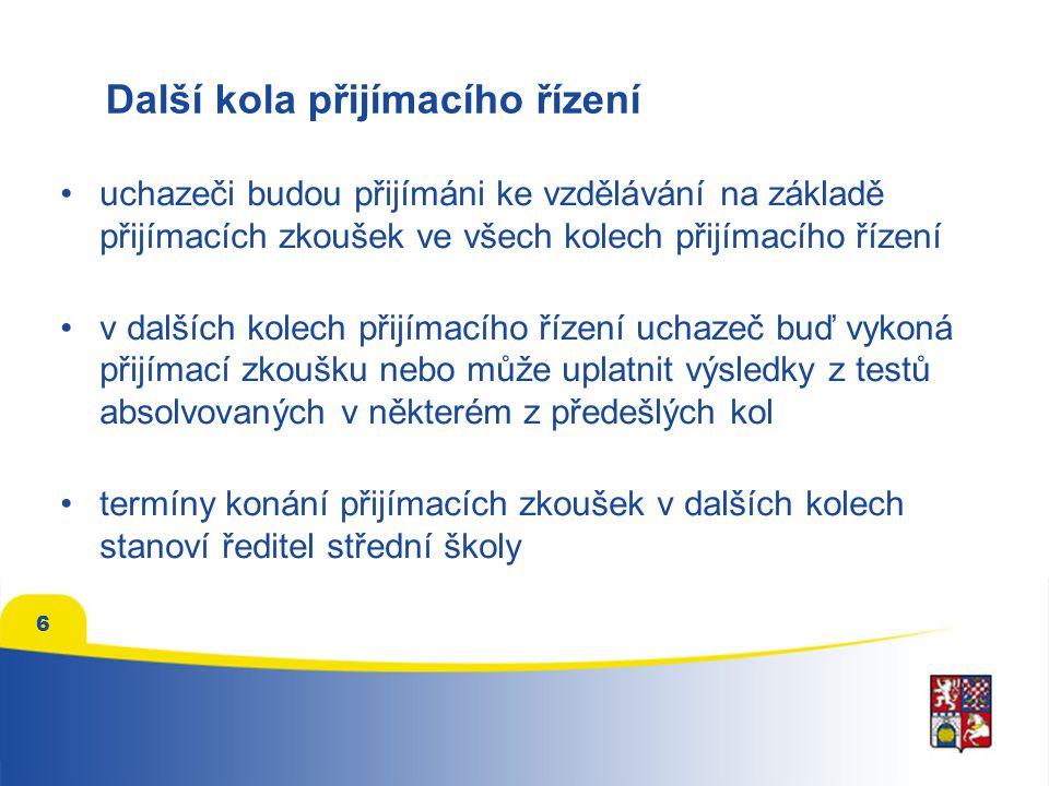 Další kola přijímacího řízení •uchazeči budou přijímáni ke vzdělávání na základě přijímacích zkoušek ve všech kolech přijímacího řízení •v dalších kol