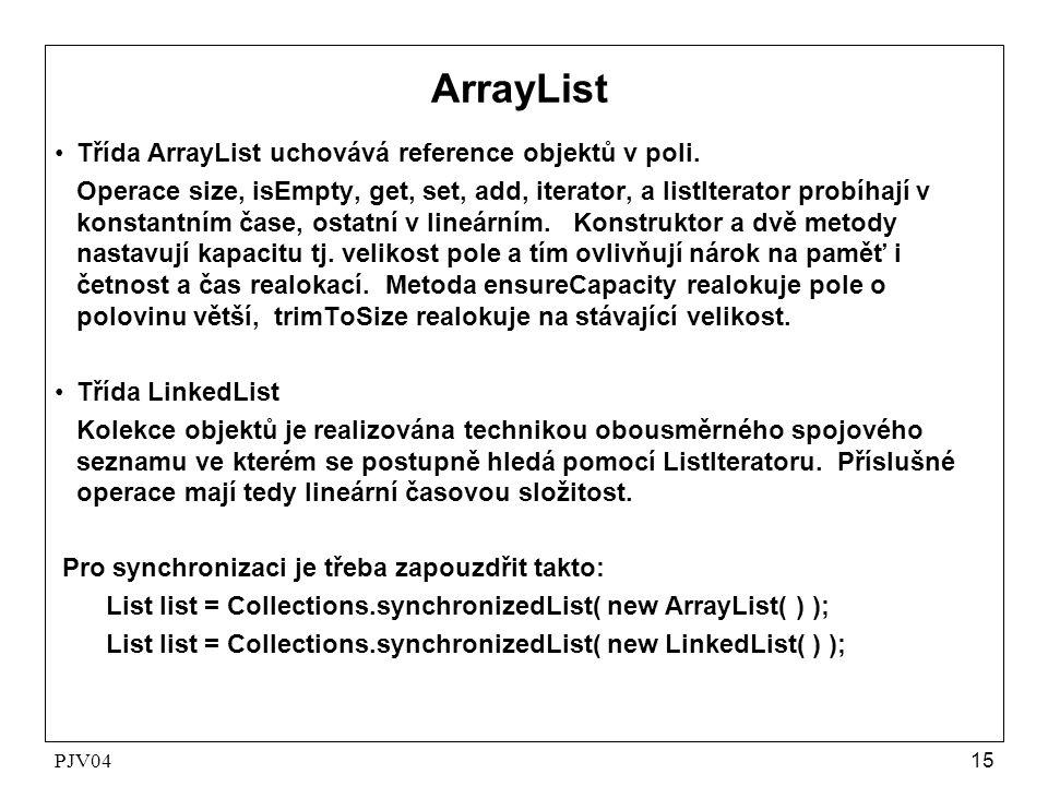 PJV0415 ArrayList •Třída ArrayList uchovává reference objektů v poli. Operace size, isEmpty, get, set, add, iterator, a listIterator probíhají v konst
